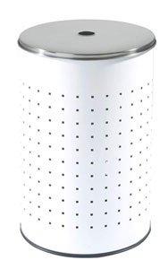 Home4You Wäschekorb Edelstahl 54 Liter Weiß